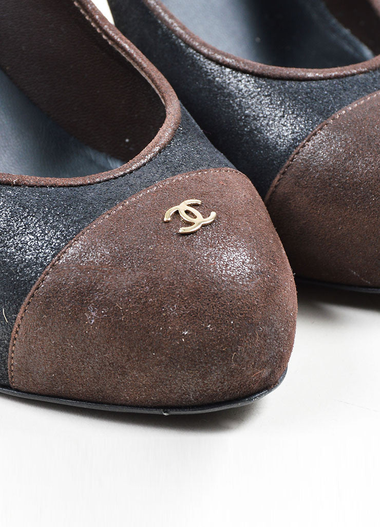 Black and Brown Chanel Suede Leather Platform 'CC' Cap Toe Pumps Detail