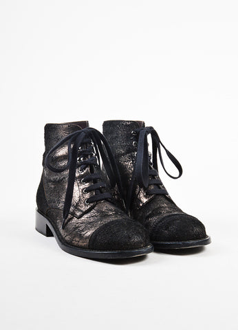 å´?ÌÜChanel Black and Gunmetal Metallic Pony Hair Distressed Lace Up Boots Frontview