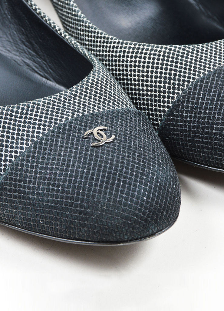 Black and Silver Chanel Suede Leather Metallic Mesh Cap Toe Ballerina Pumps Detail
