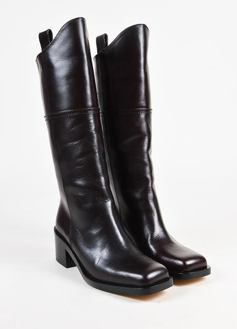 Chanel 'CC' Brown Leather Square Toe Riding Boots Front