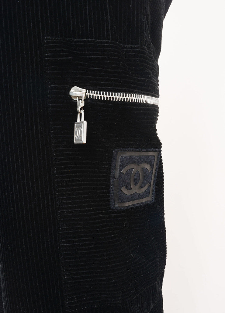 Chanel Black Cotton Corduroy Cargo Zip Wide Leg Pants Detail
