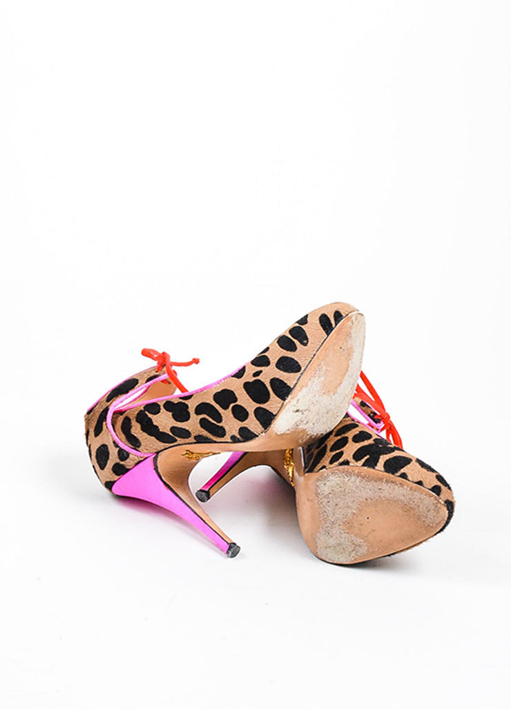 Tan, Black, and Hot Pink Charlotte Olympia Pony Hair Cheetah Print Pumps Outsoles