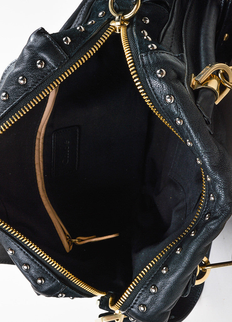"Black and Gold Toned Chloe Leather and Suede Studded Medium ""Paraty Military"" Bag Interior"