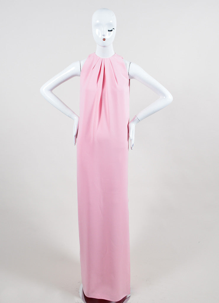 Pink Christian Dior Pleated Neck Side Slit Sleeveless Floor Length Gown Frontview