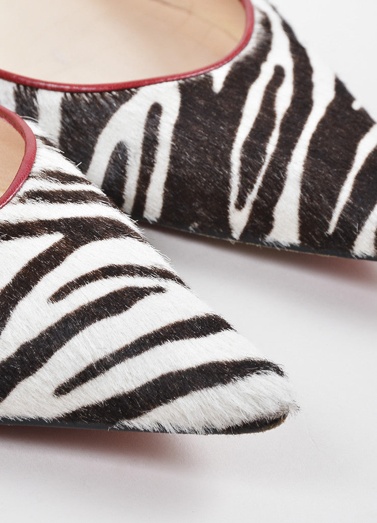 Christian Louboutin Black, White, and Red Leather Pony Hair d'Orsay Zebra Flats Detail