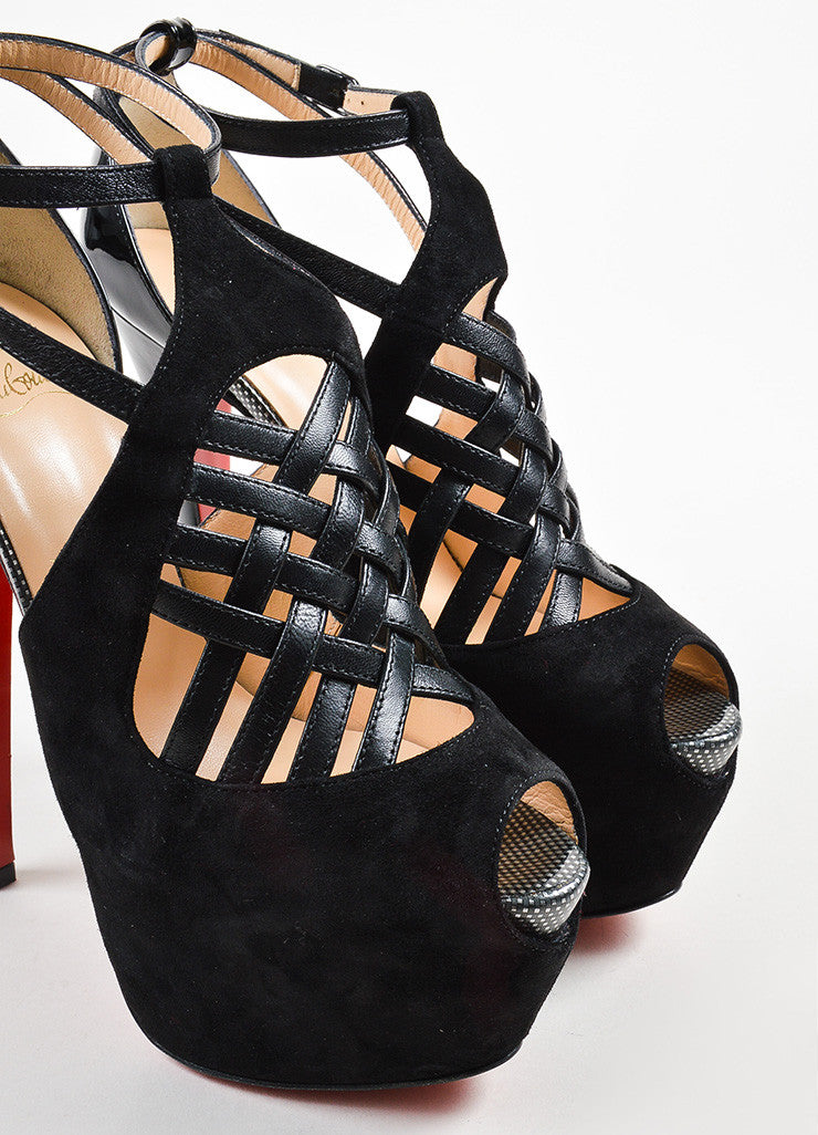 "Christian Louboutin Black Suede Crisscross ""Carlota"" Pumps Detail"