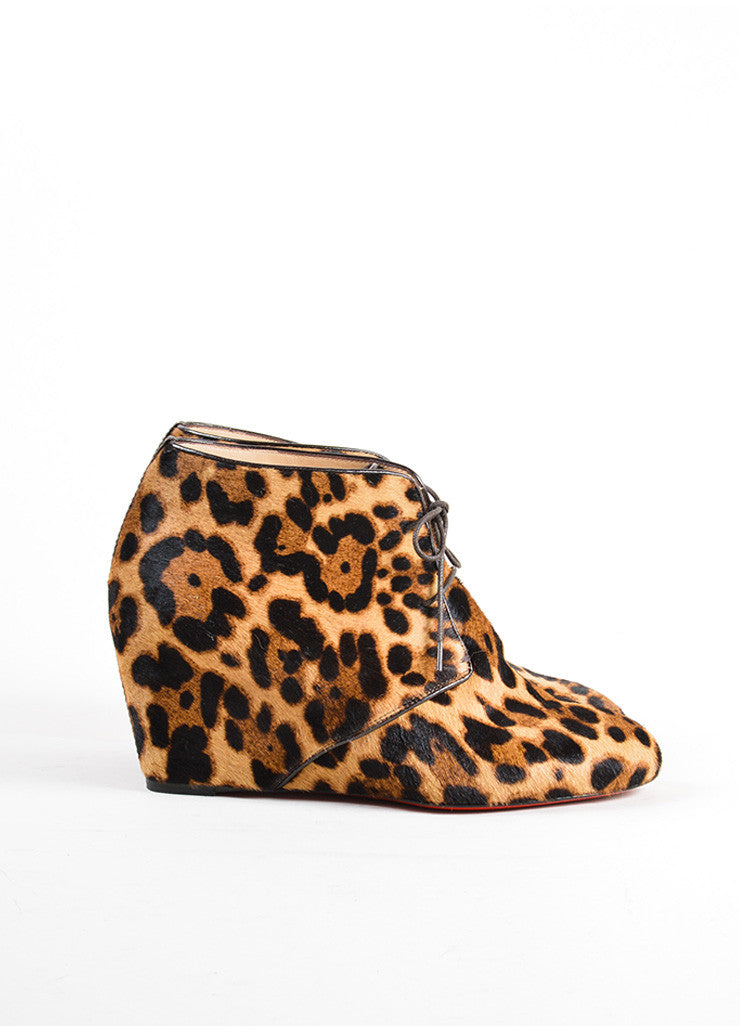 Christian Louboutin Black and Brown Leopard Print Wedge Tie Up Booties Sideview