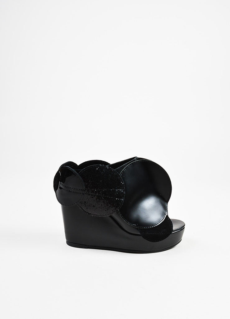 Junya Watanabe Comme des Garcons Black Leather Circle Open Toe Wedges Sideview