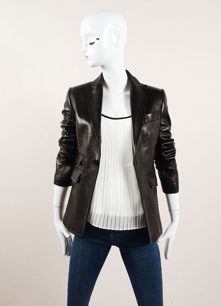 DSquared Black Leather Stitched Detail Blazer Jacket Frontview