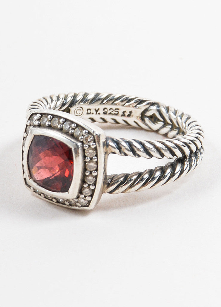 "David Yurman Sterling Silver and Red Garnet Pave Diamond ""Petite Albion"" Ring Brand"