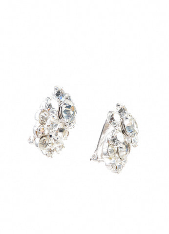 Eisenberg Ice Silver Toned Rhinestone Cluster Embellished Earrings Sideview