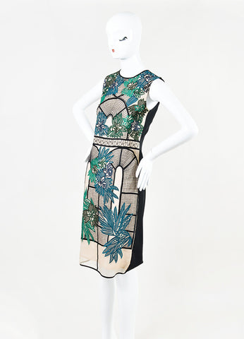 "Erdem Green, Teal, and Black Embroidered ""Brenton"" Sleeveless Dress  Sideview"