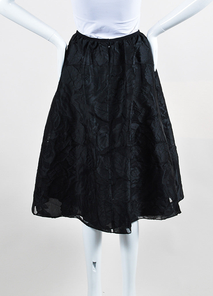 "Black Erdem Rose Floral Fil Coupe A-Line Full ""Sofia"" Skirt Backview"