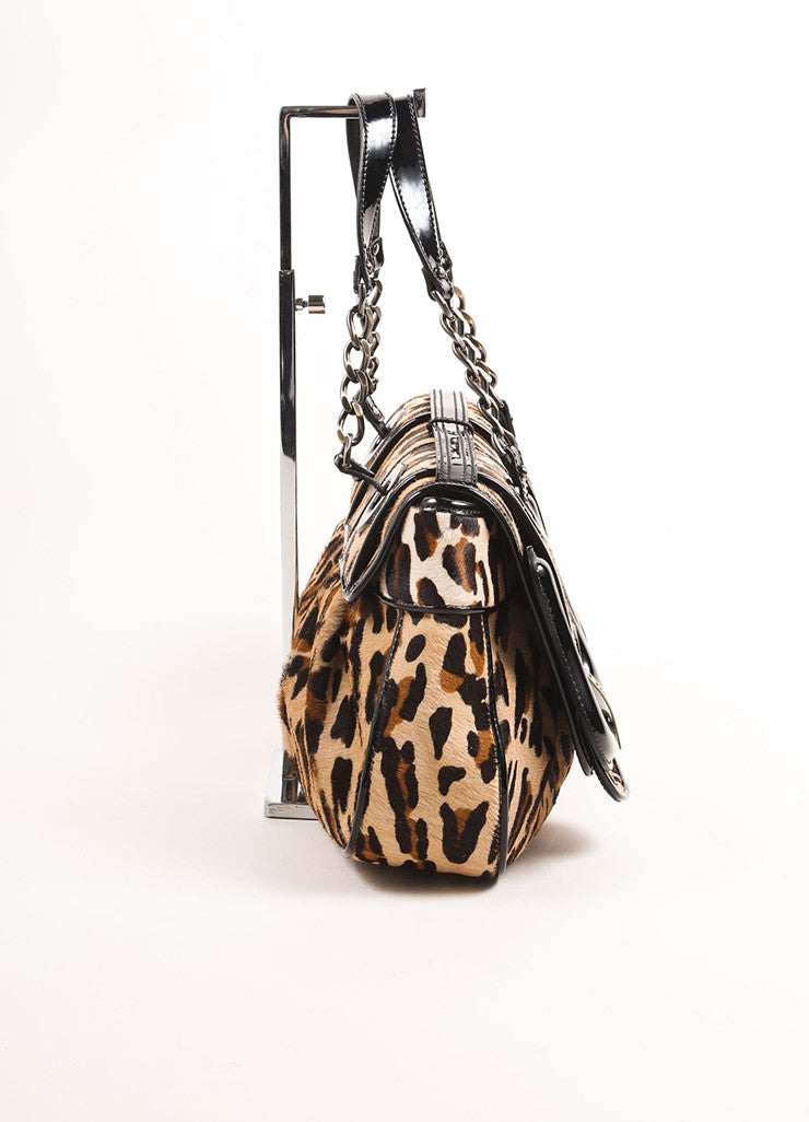 "Fendi Black and Brown Patent Leather Leopard Pony Hair ""B."" Double Buckle Bag Sideview"