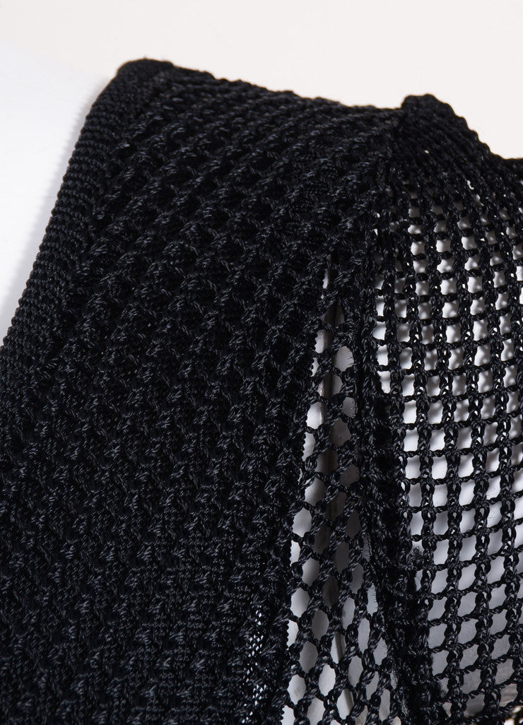 Fendi Black Woven Mesh Short Sleeve Scoop Neck Maxi Dress Detail