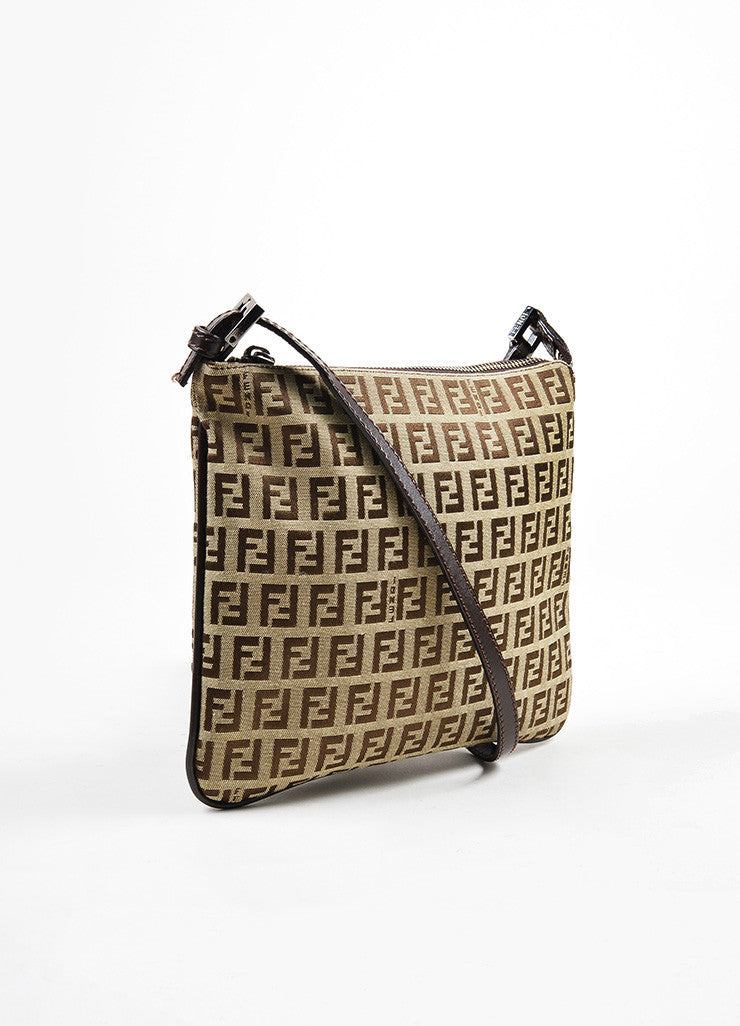 "Fendi Brown and Tan Canvas ""Zucca"" Square Cross Body Bag Sideview"