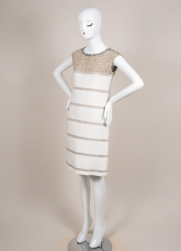 Fendi Tan and Cream Silk Knit Contrast Rhinestone Embellished Mesh Trim Dress Sideview