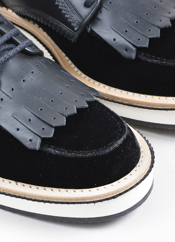 Black Givenchy Velvet and Leather Rottweiler Derby Creeper Loafers Detail