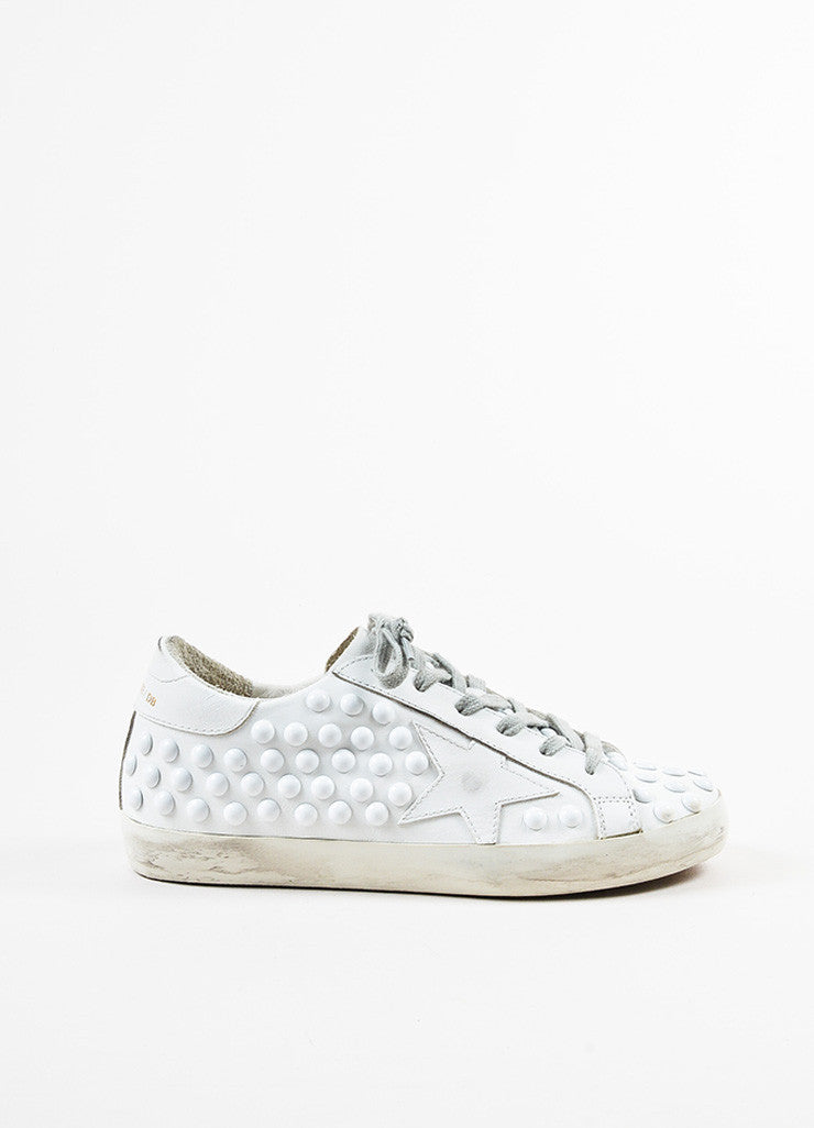 Golden Goose Deluxe Brand White Leather Studded Superstar Sneakers Sideview