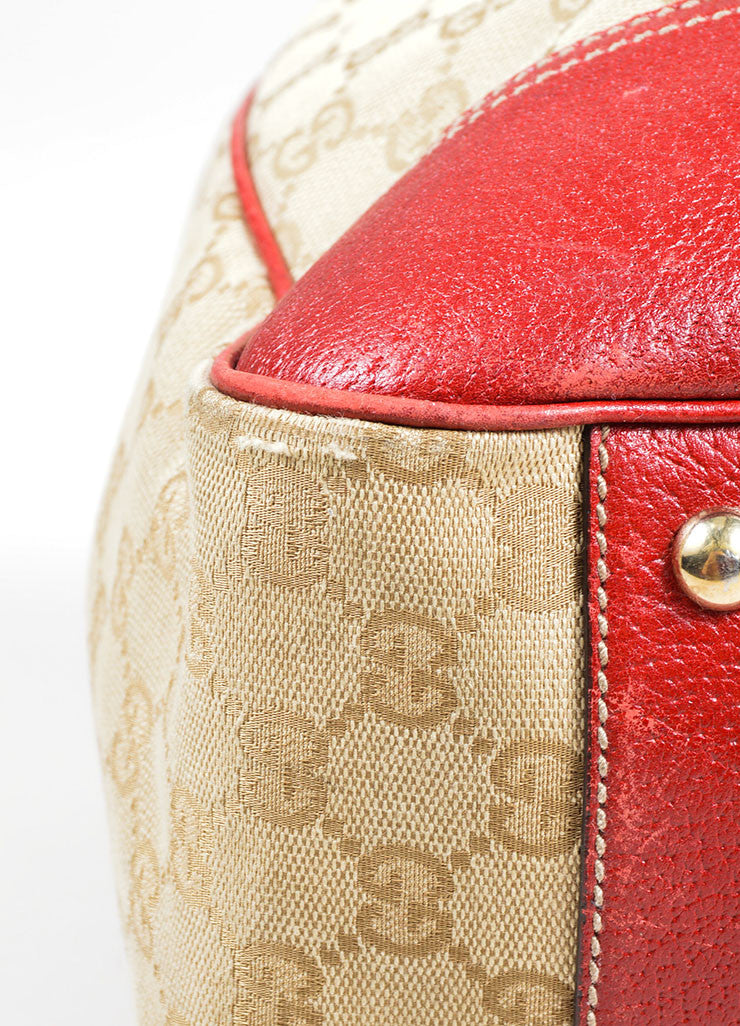 "Beige and Red Gucci Canvas and Leather Monogram ""Princy"" Tote Bag Detail"