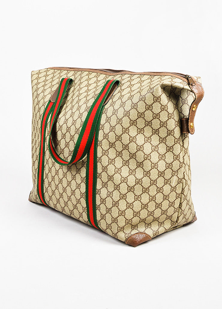 Gucci Brown, Red, and Green Monogram Coated Canvas Striped Zip Tote Bag Sideview
