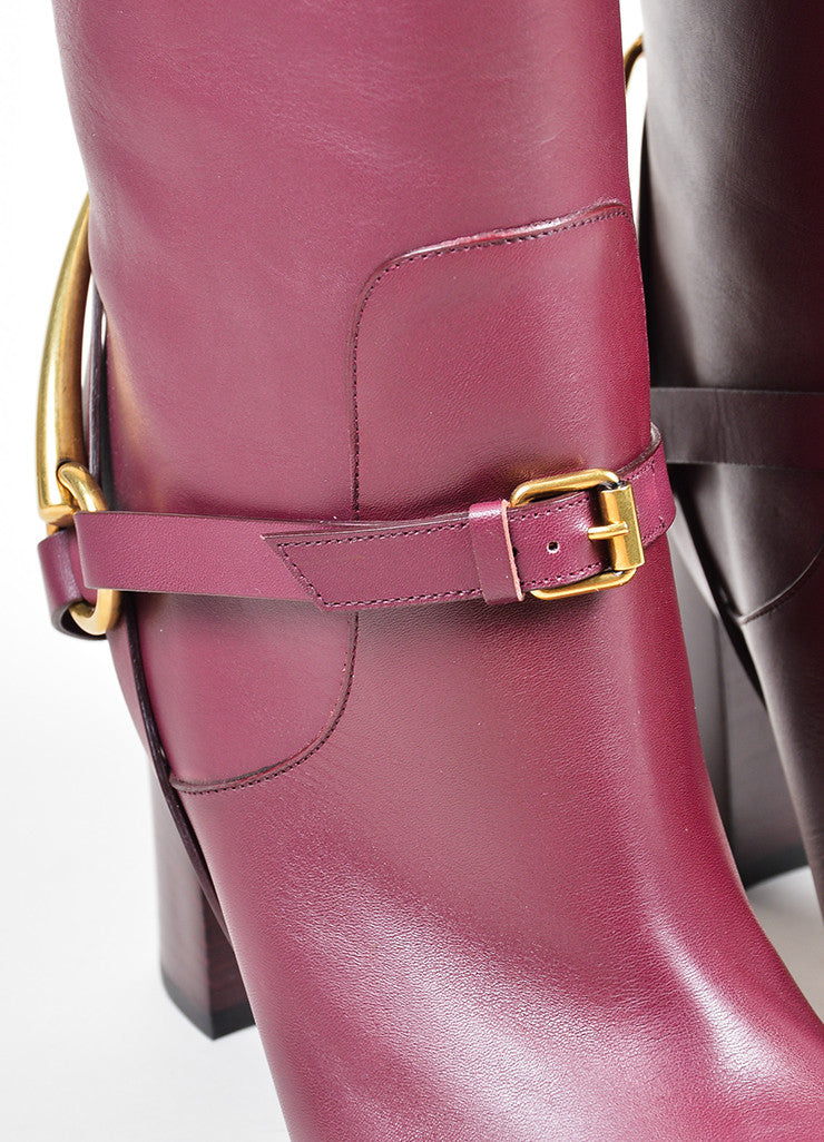 "Burgundy Gucci Leather Gold Toned Horsebit Tall ""Lifford"" Boots Detail"