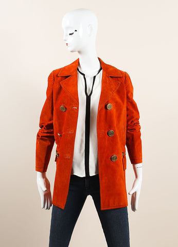 Gucci Orange Suede Leather Long Sleeve Double Breasted Pea Coat Frontview