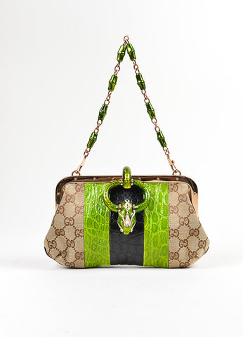 Brown, Green, and Black Tom Ford for Gucci Monogram Canvas Crocodile Snake Head Bag Frontview