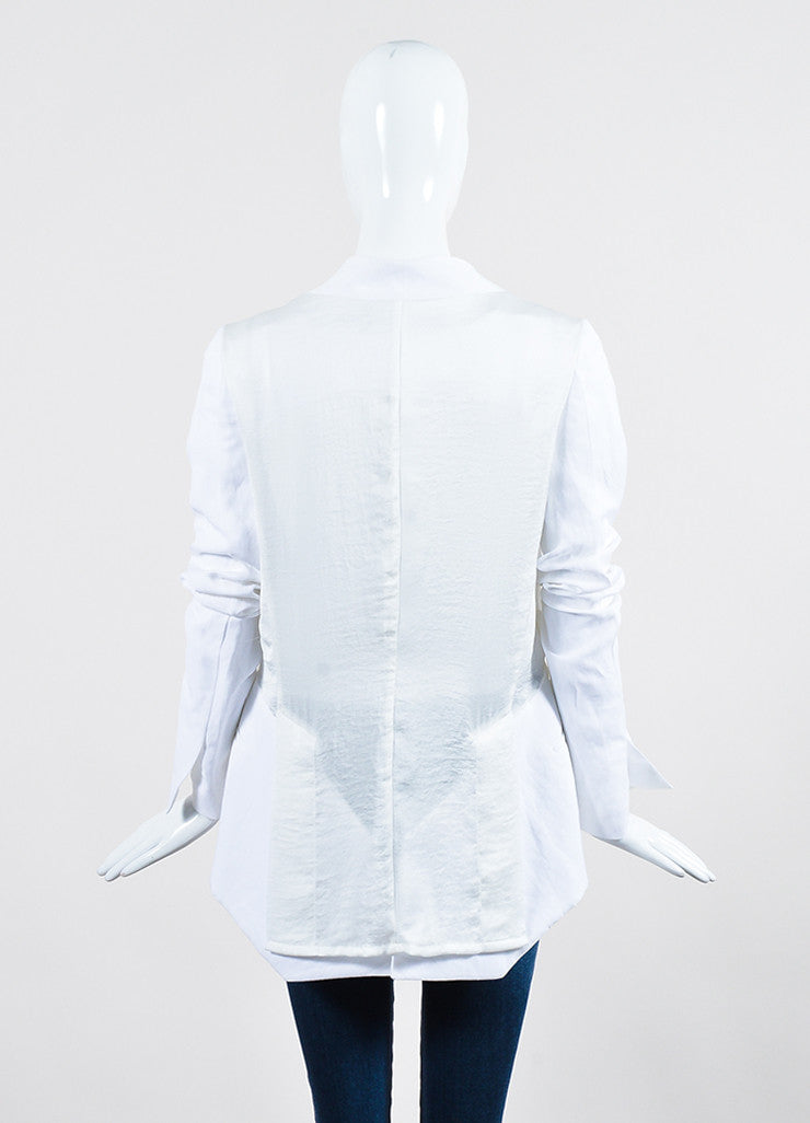 White Haider Ackermann Mixed Material Blazer Jacket Backview