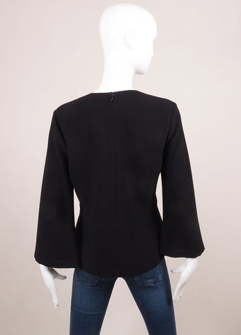 "Hellessy New With Tags Black Wool Ribbed Three Quarter Sleeve ""Miki"" Top Backview"