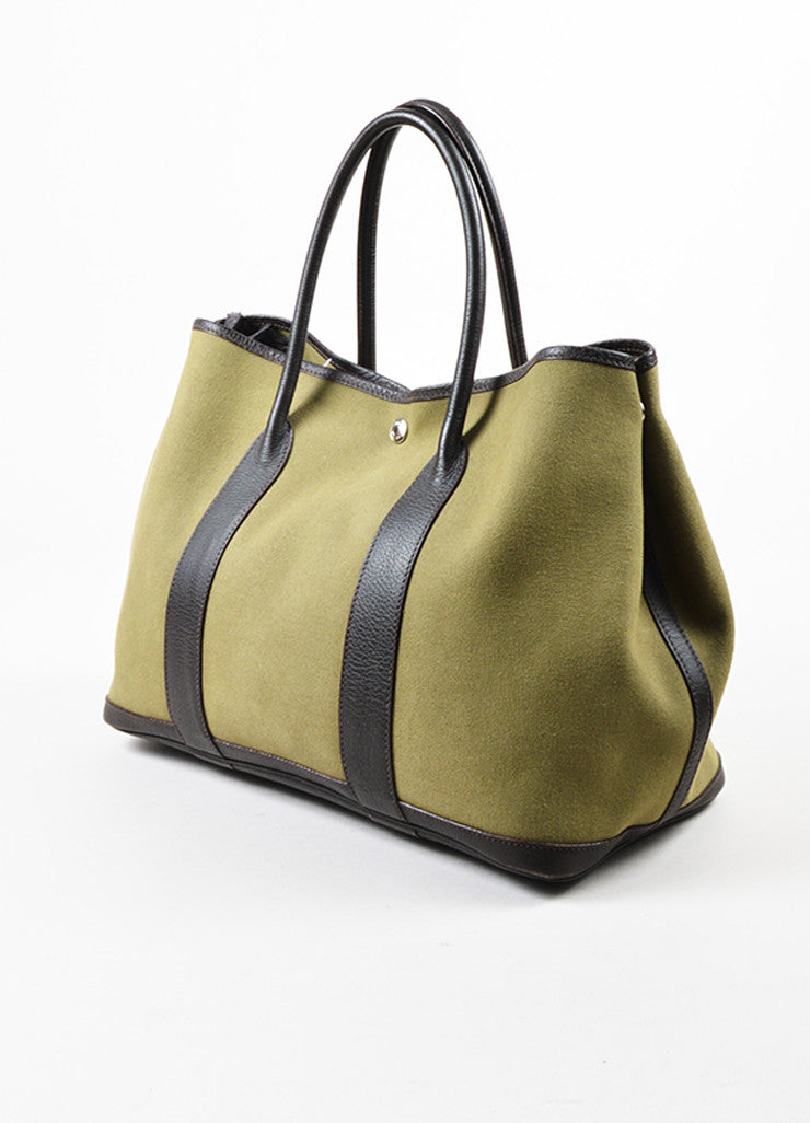 "Hermes Olive Green Canvas Brown Leather Trim ""Garden Party MM"" Tote Bag Sideview"