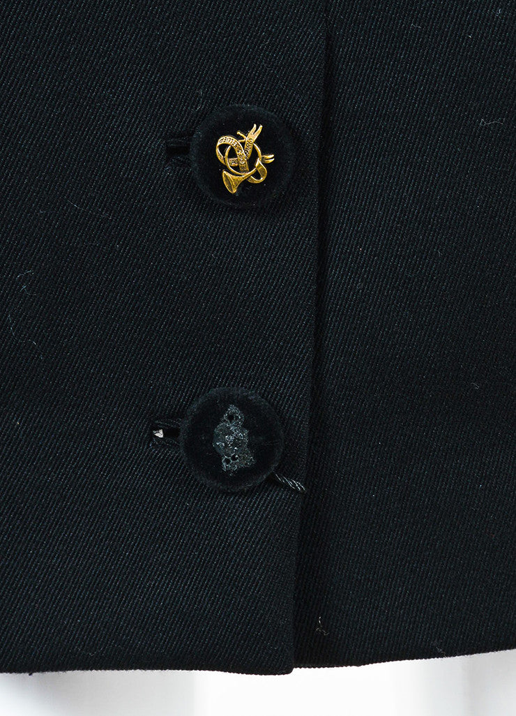 Hermes Black Wool Velvet Logo Button Pleated Pencil Skirt detail