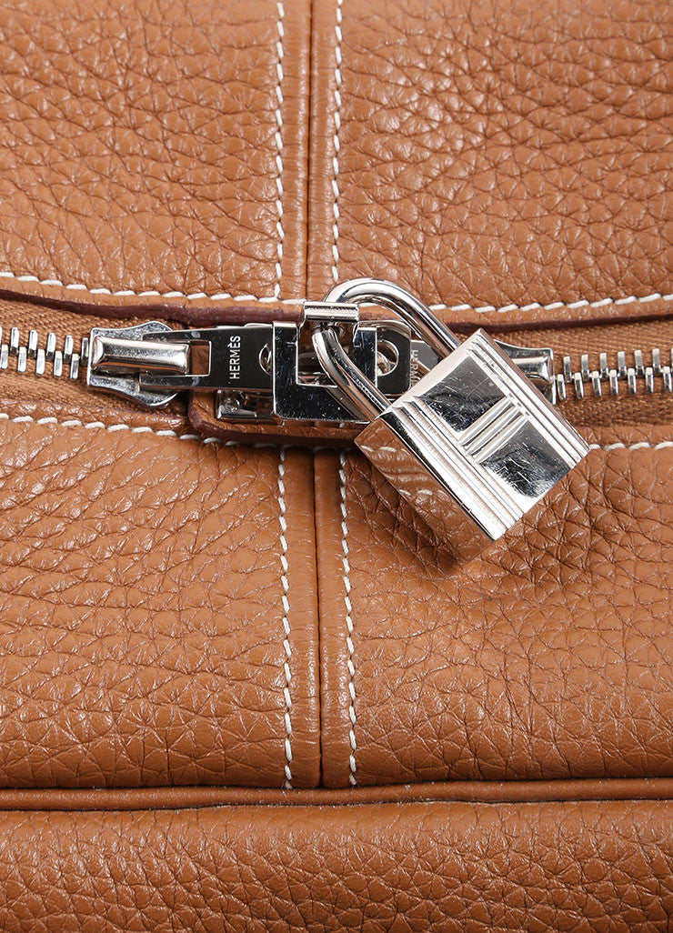 "Hermes Brown Clemence Leather ""Victoria"" Satchel Bag Detail 3"