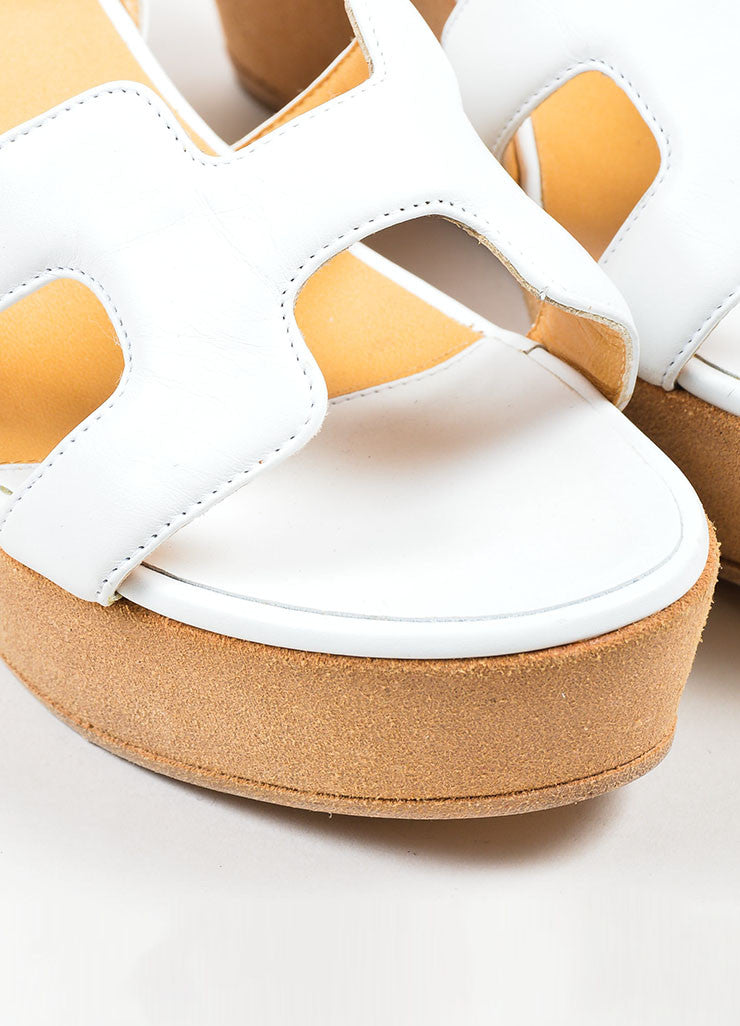 White Hermes Leather Suede Ankle Strap Platform Wedge Sandals Detail
