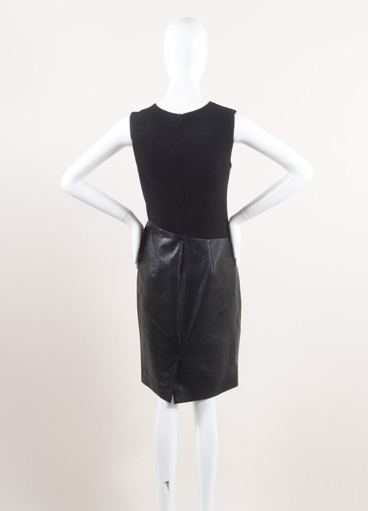 J. Mendel New With Tags Black Leather and Wool Crepe Contrast Pleated Sheath Dress Backview