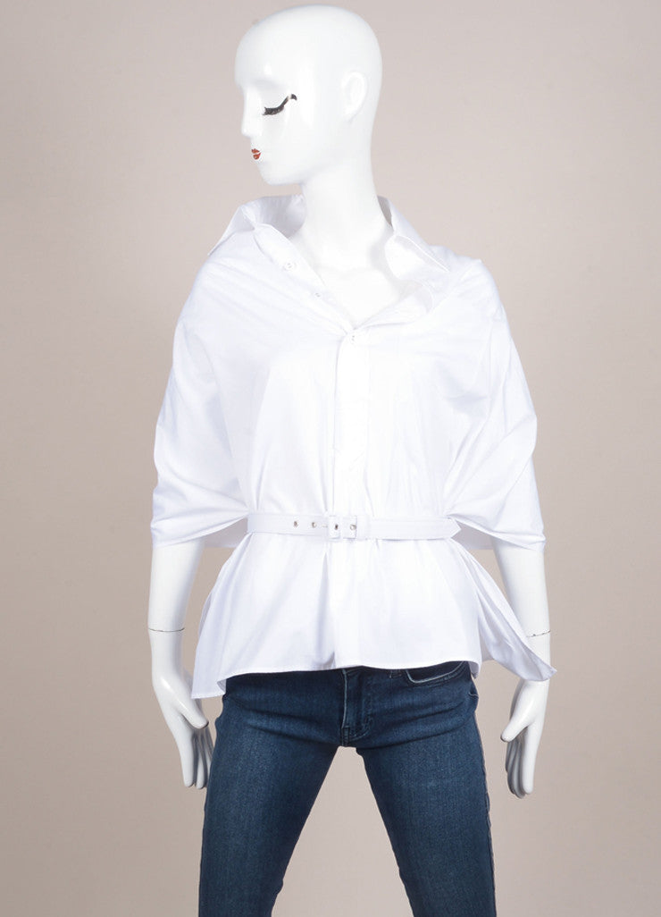 Jean Paul Gaultier White Crop Back Cotton Button Up Cape Frontview