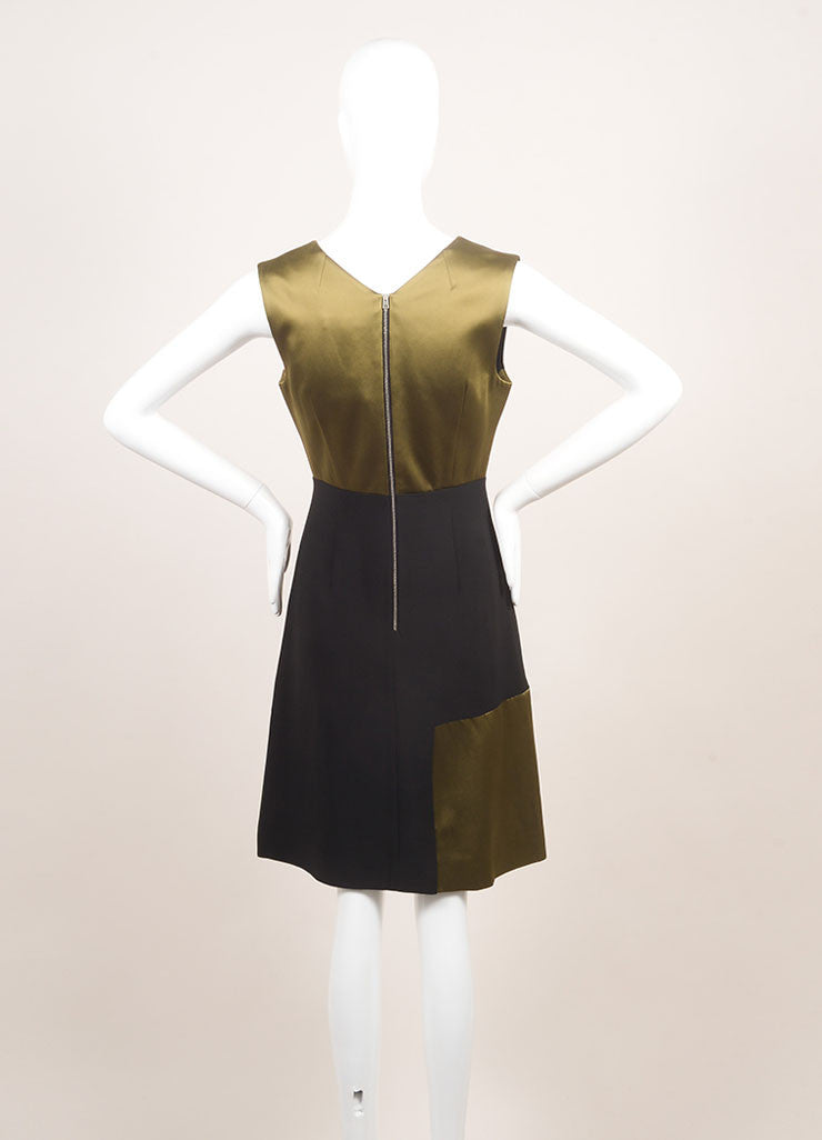 "Jonathan Saunders New With Tags Black, Green, and Pink Satin and Crepe ""Adeline"" Dress Backview"