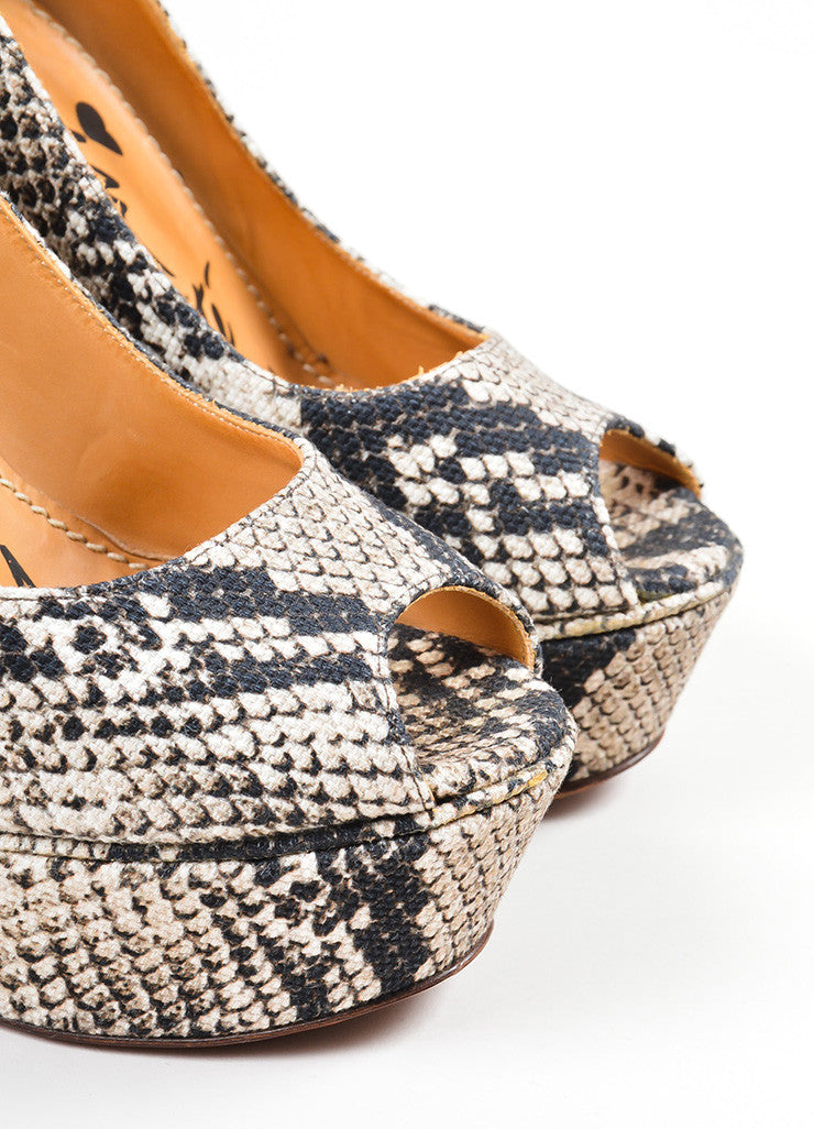 Black and Cream Lanvin Snakeskin Printed Canvas Peep Toe Wedge Pumps Detail