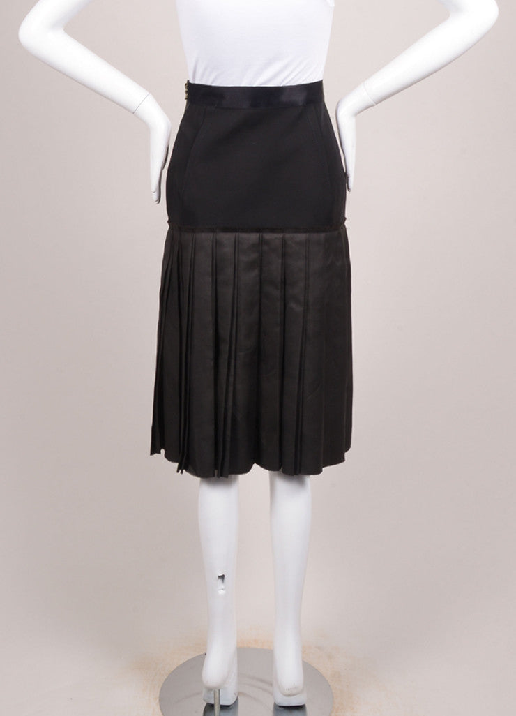Lanvin Black Double Knife Pleated Knee Length Wool and Silk Skirt Backview