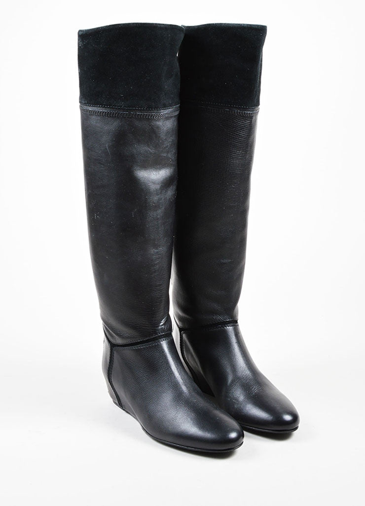 Lanvin Black Leather Suede Concealed Wedge Knee High Boots Frontview