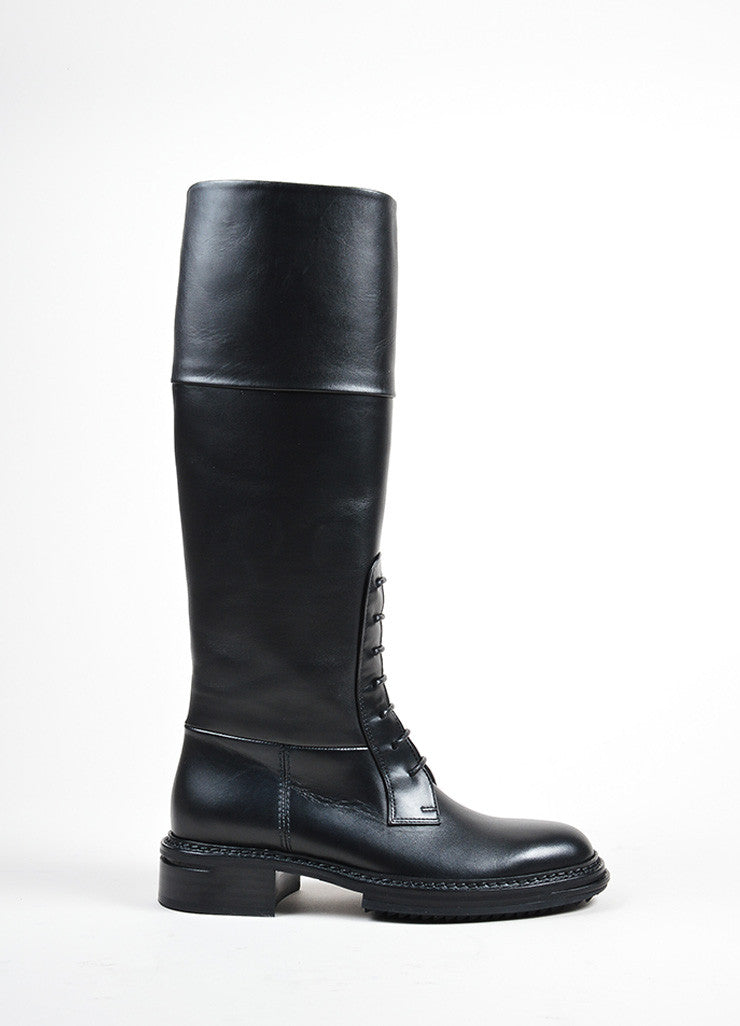 "Lanvin Black Leather Lace Front Tall ""Military"" Boots Sideview"