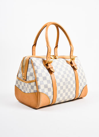 "Louis Vuitton Damier Azur Coated Canvas Leather Trim ""Berkeley"" Handbag Sideview"