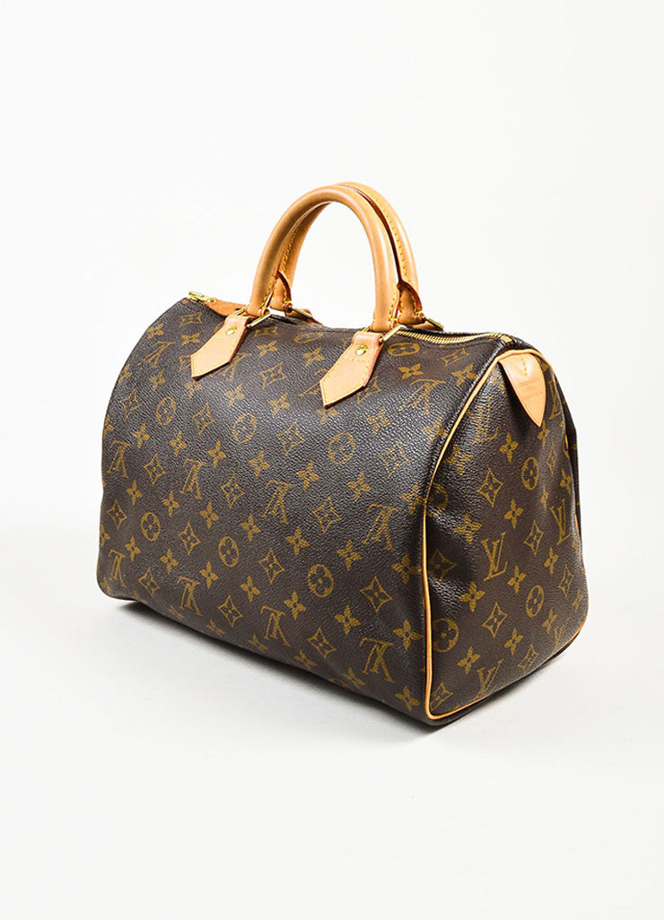 "Brown and Tan Louis Vuitton Coated Canvas Monogram ""Speedy 30"" Satchel Bag Sideview"