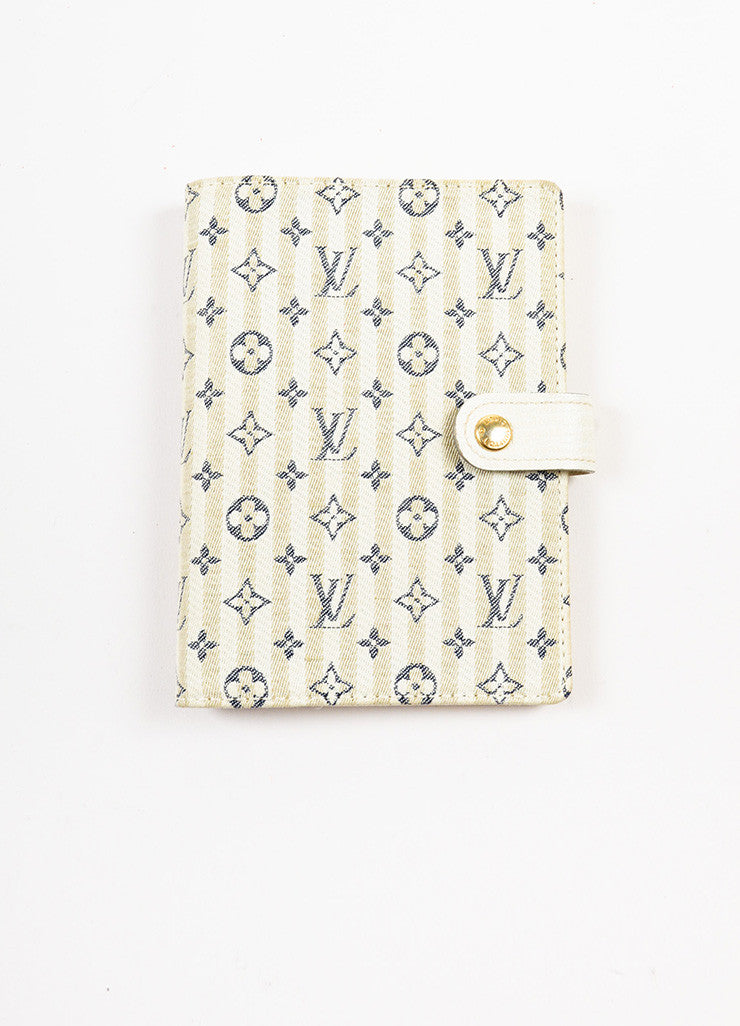 "Louis Vuitton Beige, Cream, and Navy Monogram ""Croisette Mini Lin Small Agenda"" Cover Frontview"