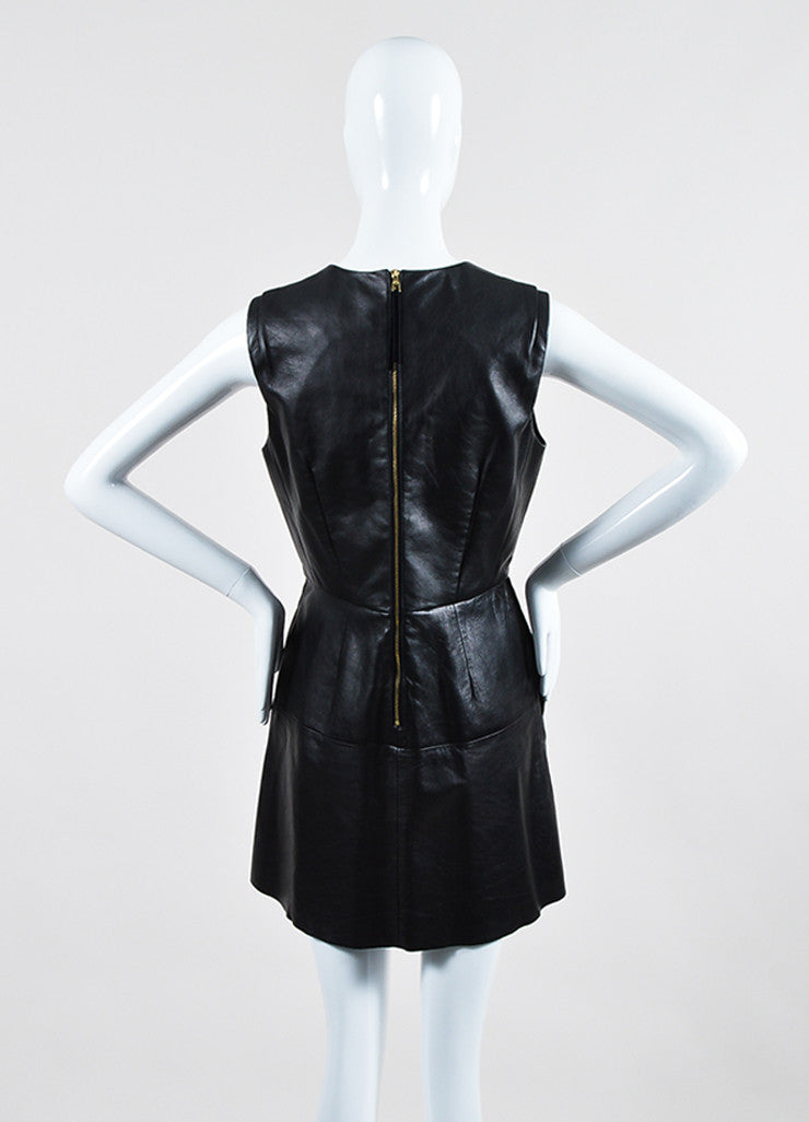 Black Louis Vuitton Leather Suede Panel Sleeveless Dress Backview