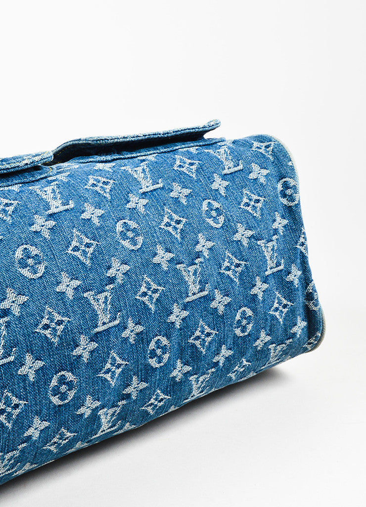 "Louis Vuitton Blue Monogram ""Neo Denim Speedy"" Duffel Bag Bottom View"