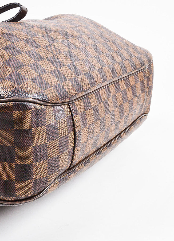 "Louis Vuitton Brown ""Ebene Damier"" Coated Canvas Checkered ""Evora MM"" Tote Bag Bottom View"