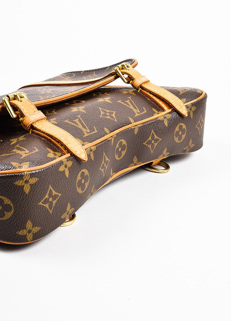 "Louis Vuitton Brown and Tan Coated Canvas Leather Monogram ""Marelle Sac a Dos"" Bag Bottom View"