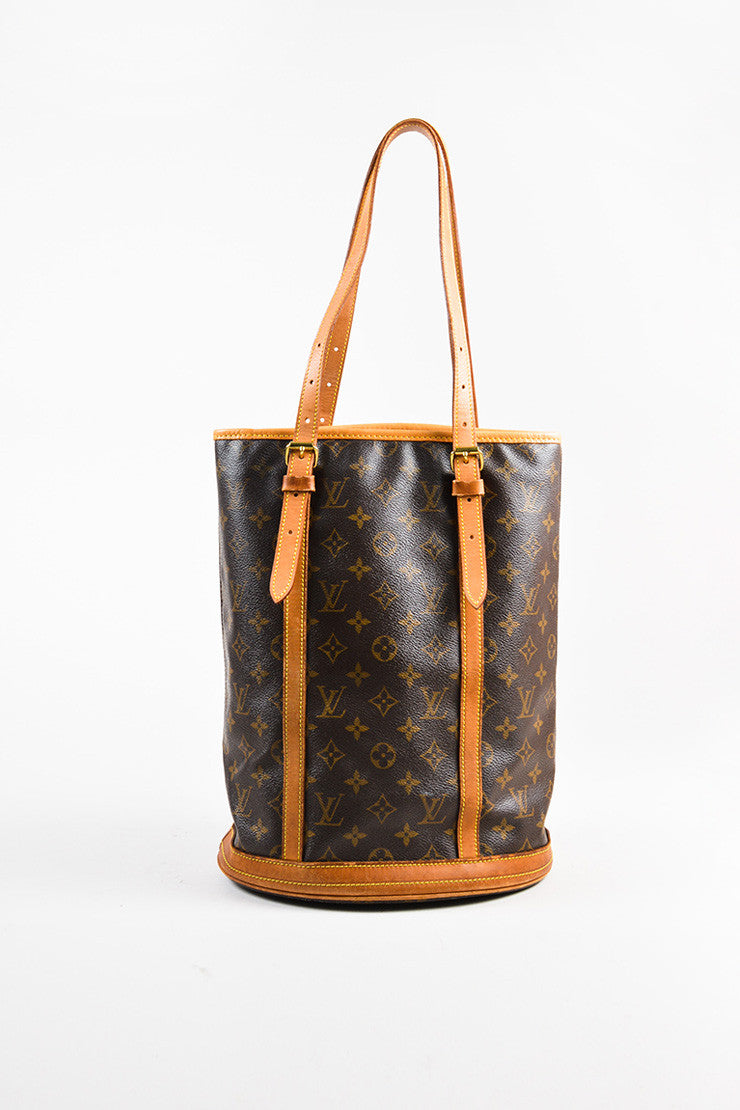 "Louis Vuitton Brown and Tan Monogram Coated Canvas ""Bucket"" Shoulder Bag Frontview"