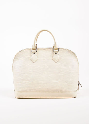 "Louis Vuitton Cream Epi Leather ""Alma PM"" Structured Bag Frontview"
